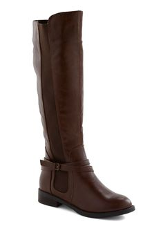 The Right Trek Boot - Brown, Solid, Buckles, Flat, Casual, Rustic, Fall, Winter/ModCloth