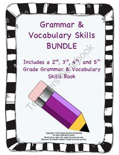 Grammar & Vocabulary Skills Bundle (2nd-5th Grade Books) from Inspire the Love of Learning on TeachersNotebook.com -  (559 pages)  - In this bundle you will receive a copy of the 2nd grade, 3rd grade, 4th grade, and 5th grade Grammar & Vocabulary Skills books!