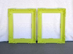 2 Lime Green Ornate  Vintage Frames - Upcycled Frames Modern Bedroom Decor Lime Grey White Chartruese