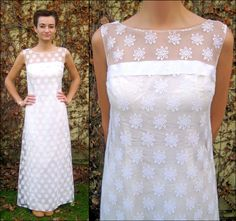 Vintage 60's illusion lace wedding dress $33