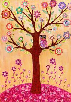 Sleepy Owl in Flower Tree by Sascalia