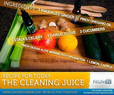 The Cleaning Juice.  Looking for something to cleanse out your entire system? This juice is perfect for that! #ginger #oregano #celery #garlic #cucumber #lemon #apple