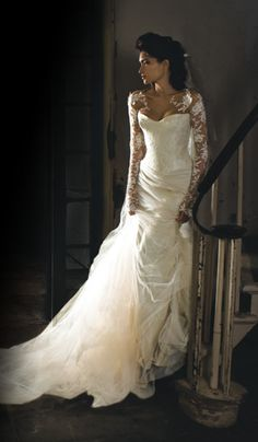 lace, wedding dressses, idea, dream, weddings, sleev, dresses, gown, angelina colarusso