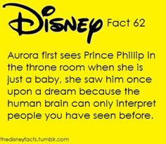 Disney Fact #62: Aurora first sees Prince Philip in the throne room when she is just a baby, she saw him once upon a dream because the human brain can only interpret people you have seen before.