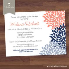 navy and coral bridal shower invitations - Google Search