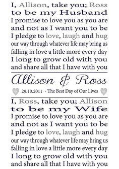 Personalised #Wedding #Vows ... For more wedding ideas for brides & grooms, bridesmaids & groomsmen, parents & planners ... https://itunes.apple.com/us/app/the-gold-wedding-planner/id498112599?ls=1=8  The Gold Wedding Planner iPhone App.