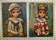 Vintage Kitsch Set of Two Eden Lithos Big Eyed prints by modpets, $8.00