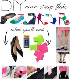 DIY: Neon Strap Flats, created by polyvore-editorial on Polyvore