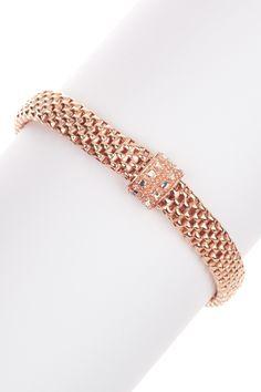 Rose Italian Trecia Weave Mesh Stretch Bracelet