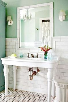Cottage Bathroom vanity subway tile & decor... I pinned this because that wall color is exactly what I want in my kitchen! Mint!! country bathrooms, color, storage cabinets, sinks, bathroom designs, bathroom ideas, subway tiles, cottage style, cottage bathrooms