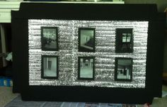 Surveillance prop for Vbs, made out of recycled cardboard, and black  white photos of the church