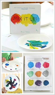 Create and name your own colors while exploring color mixing with paints! Inspired by Herve Tullet's new book, Mix It Up! (FREE Printable)~ BuggyandBuddy.com