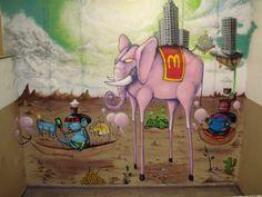 Amazonian tribal #culture in street #art Pink #Elephant