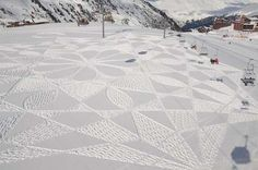 Simon found spaces in between lodges and mountains at the Les Arcs ski resort to create his masterpieces.