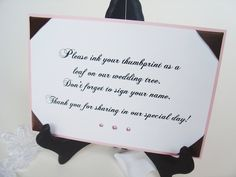 Ink your Thumbprint Wedding sign-Guest  book signs-reception signs-Ribbon Corners and Crystals-5x7. $14.00, via Etsy.