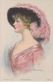 Clarence Underwood postcard ~ lady in pink