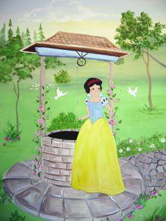 Wishing well mural - children's decor