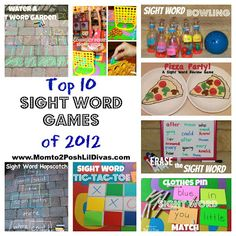 our top 10 sight word games & activities of 2012 all in one place! Lots of hands-on fun & playing to learn - what beats that?