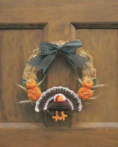 Crochet Thanksgiving Turkey Wreath - free crochet pattern