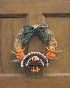 Crochet Thanksgiving Turkey Wreath - free crochet pattern