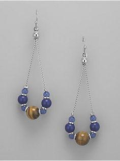 Tiger-Eye Bead Teardrop-Chain Earrings from New York & Company