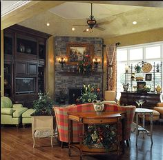 Dining room on pinterest dining tables farmhouse for House plans with hearth rooms