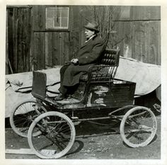 Hyrum A. Silver rides on the first car ever bought in Utah. He bought the car in 1896. (Tribune file photo)