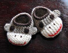 Wool Sock Monkey Slippers