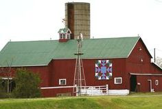 "Longwoods Barn Quilt Trail | Ontario Barn Quilt Trails, ""Memory"" barn quilt block is stunning on this traditional red barn."