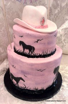 horse cake, hand painted cakes, horse birthday, blue, cowgirl birthday, horse paintings, cake art, hat, birthday cakes