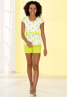 Spring Into Fashion | Dress up for Spring in polka-dots peplum, and colorful denim