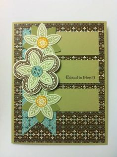 Stampin Up: Triple Treat Flower. Spice cake DSP. Lovely green.