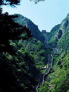 One of the Worlds Highest Staircases  China highest staircas, mountains, south gate, mount tai, travel, gates, place, heavens, china