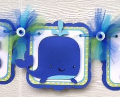 Whale baby shower banner, whale banner, blue and green, it's a boy banner, etsy, handmade banner, nancysbannerboutique