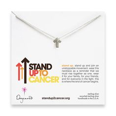 stand up to cancer sterling silver necklace