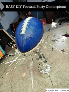 EASY DIY Football Party Centerpiece! A DOLLAR STORE Craft! #EASY #DIY #football #dollarstore