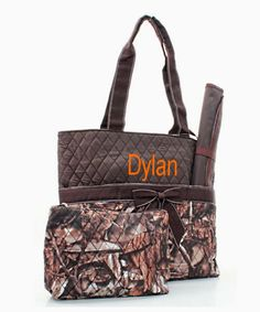 Personalized+Diaper+Bag+Set++Camo+and+Brown+by+MauriceMonograms,+$36.00