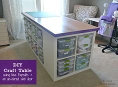 DIY Craft Table - PLUS storage space. Cube shelves put together with a top. Genius.
