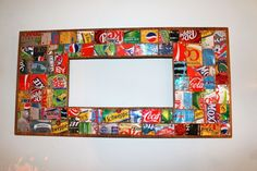 coca cola, soda can art, crafti thing, wall mirrors, art ncraft, soda can crafts, black, upcycl soda, man caves