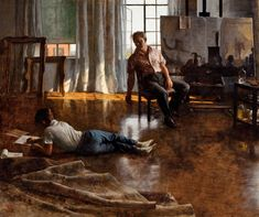 John Koch, Father and Son, 1955  This self-portrait of the New Yorker, Koch, stopping his own painting to speak with his son, who is drawing down on the floor, is fascinating. I love how the artist's brush is just frozen in his hand, seemingly mid stroke, as he takes the time to talk a little shop with his boy.