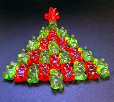 My elf is going to do this this year. Gummy Bear Christmas Tree gummy bears, gummy bear christmas tree, xmas trees, christmas countdown, christmas elf, christma tree, gummi bear, christmas trees, kid