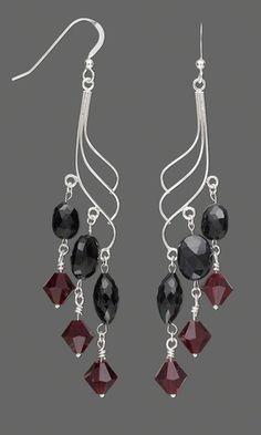 Earring Set with Black Garnet Beads and Swarovski® Crystal Beads
