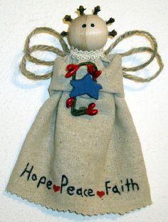 Homemade Angel Christmas Ornaments | primitive angel ornament Handmade Primitive Angel OrnamentThese angels ...