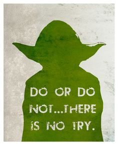 Do or do not. There is no try. -Yoda-