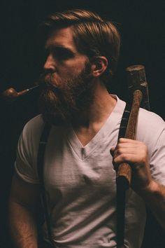 Beards. Men. Lumberjack. Pipe.