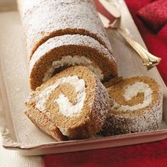 Pear Gingerbread Cake Roll Recipe from Taste of Home -- It dresses up a spiced molasses cake with a luscious pear filling. —Gwen Beauchamp, Lancaster, Texas