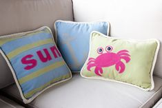 Summer Pillows- with free appliqué patterns