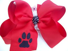 JUMBO XLARGE School Uniform Paw Print Monogram Bow by karenscreations1, $10.98