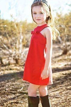 Retro Style Red Jewel Neckline dress