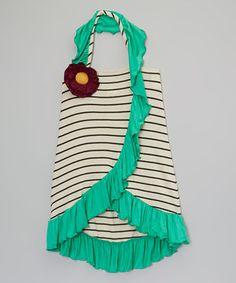 Look at this #zulilyfind! Little Miss Fashion Turquoise Stripe Side-Ruffle Dress - Toddler & Girls by Little Miss Fashion #zulilyfinds